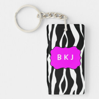 Key Tag Black Zebra with Initials Key Ring