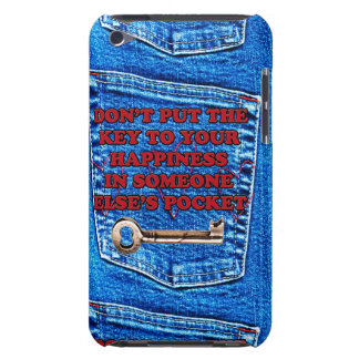 Key to Happiness Pocket Quote Blue Jeans Denim iPod Case-Mate Case