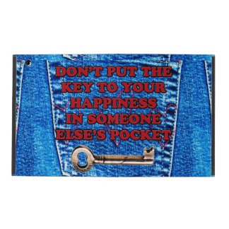 Key to Happiness Pocket Quote Blue Jeans Denim iPad Cover
