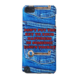 Key to Happiness Pocket Quote Blue Jeans Denim iPod Touch 5G Covers