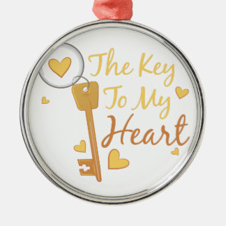 Key To Heart Silver-Colored Round Decoration