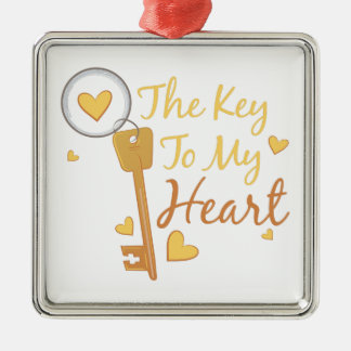 Key To Heart Silver-Colored Square Decoration