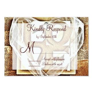 Key to her Heart Rustic Burlap Wedding RSVP Cards 9 Cm X 13 Cm Invitation Card