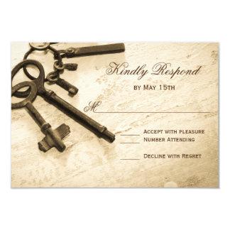 Key to Her Heart Vintage Wedding RSVP Cards 9 Cm X 13 Cm Invitation Card