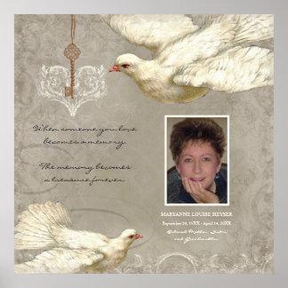 Key to my Heart Dove Bereavement Memorial Print