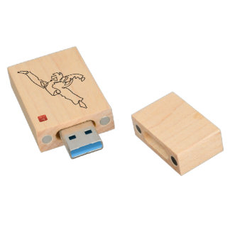 Key USB TAEKWONDO DWICHAGI back kick Wood USB Flash Drive