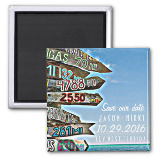 Key West Destination Wedding Save the Date Square Magnet