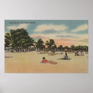 Key West, FL - View of South Beath w/ Sunbathers Poster
