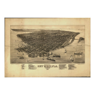 Key West Florida 1884 Antique Panoramic Map Poster