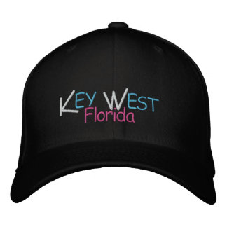 Key West Florida Coral Colors Embroidered Cap