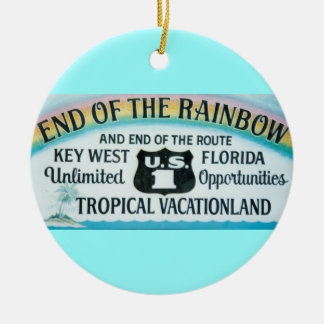Key West Florida End Of The Rainbow Sign Ornament