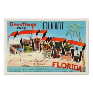 Key West Florida FL Old Vintage Travel Souvenir Poster
