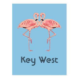 Key West Florida Pink Flamingo Couple Postcard