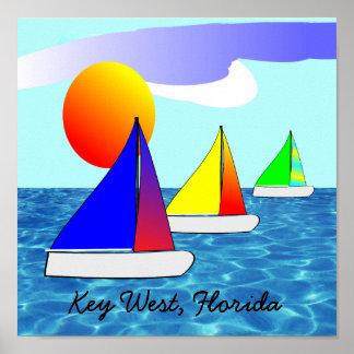 Key West Florida Sailboat Art Poster
