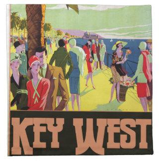 Key West Florida Travel Vintage Artwork Printed Napkin