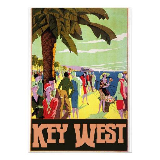 Key West Florida Travel Vintage Artwork Personalized Invite