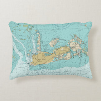 Key West nautical Chart and Coordinates Pillow