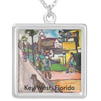 Key West Painting Square Pendant Necklace