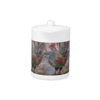 Key West Rooster Painting on a tea pot