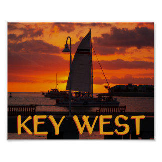 Key West Sunset with Boats Poster