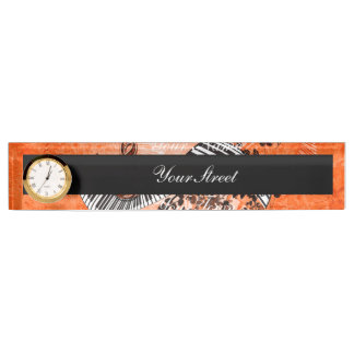 Keyboard and clef with roses desk name plate