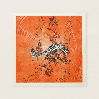 Keyboard and clef with roses paper napkins