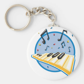 keyboard and music notes design basic round button key ring
