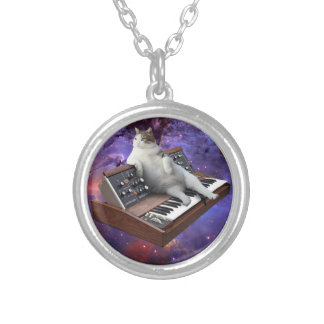 keyboard cat - cat memes - crazy cat silver plated necklace