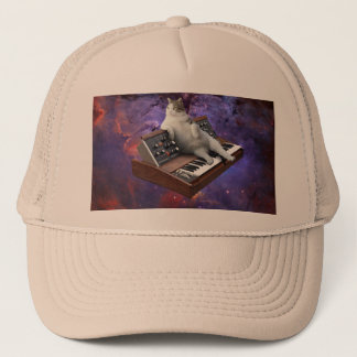 keyboard cat - cat memes - crazy cat trucker hat