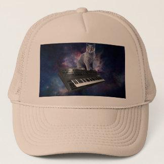 keyboard cat - cat music - space cat trucker hat