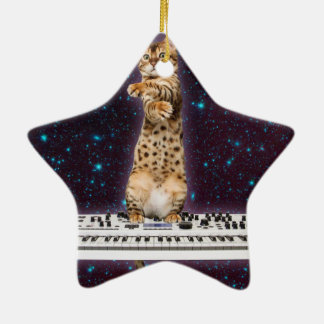 keyboard cat - funny cats  - cat lovers ceramic ornament