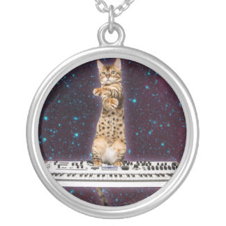 keyboard cat - funny cats  - cat lovers silver plated necklace