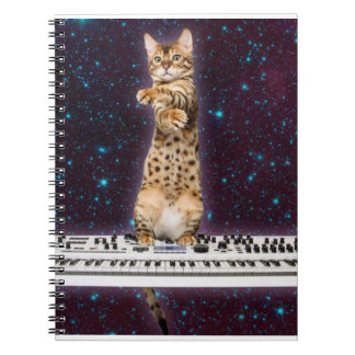 keyboard cat - funny cats  - cat lovers spiral notebook