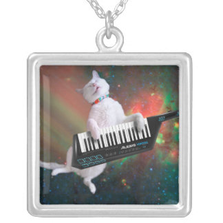 Keyboard cat - space cat - funny cats - galaxy cat silver plated necklace
