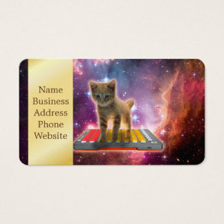 keyboard cat - tabby cat - kitty business card
