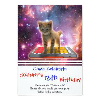 keyboard cat - tabby cat - kitty card
