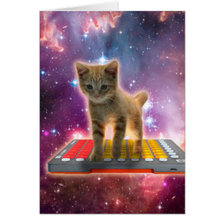 keyboard cat - tabby cat - kitty card