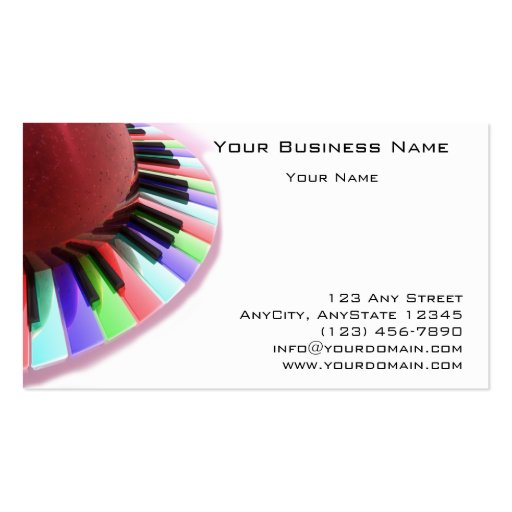Keyboard Chaos Bright on White Business Card Template
