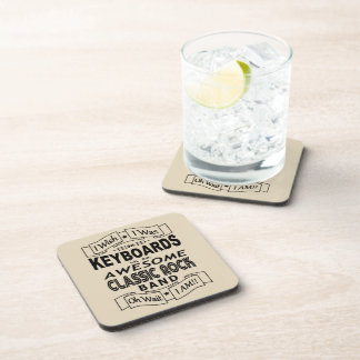 KEYBOARDS awesome classic rock band (blk) Coaster