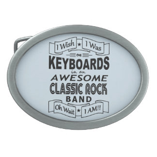 KEYBOARDS awesome classic rock band (blk) Oval Belt Buckles