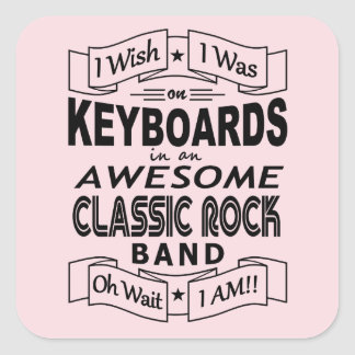 KEYBOARDS awesome classic rock band (blk) Square Sticker