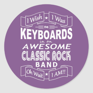 KEYBOARDS awesome classic rock band (wht) Classic Round Sticker