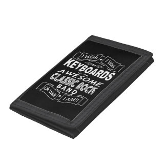 KEYBOARDS awesome classic rock band (wht) Tri-fold Wallets