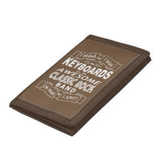 KEYBOARDS awesome classic rock band (wht) Trifold Wallets