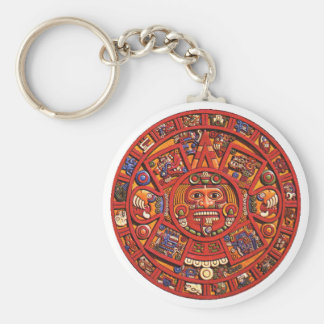 Keychain: Aztec calendar Basic Round Button Key Ring
