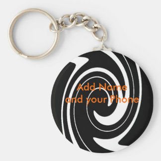 Keychain Black White Swirl Add Name and your Phone Key Chains