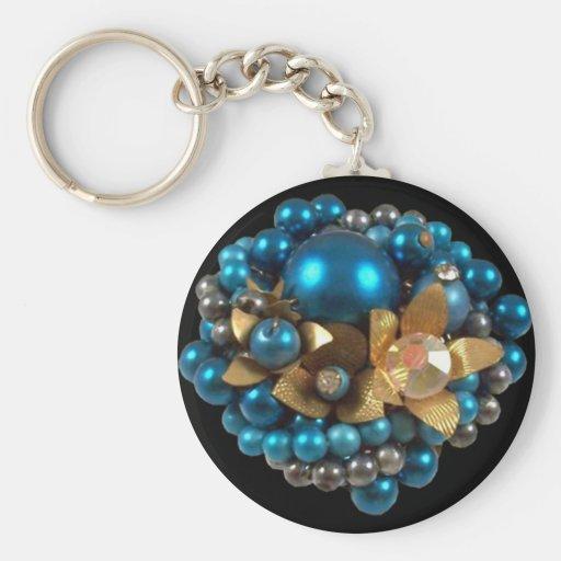 Keychain Blue Gem Jewel (020) Key Chains