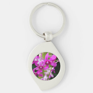 Keychain - Cooktown Orchid Silver-Colored Swirl Key Ring