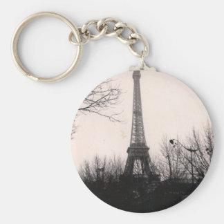 Keychain/Eiffel Tower Basic Round Button Key Ring