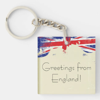 Keychain. Greetings from England. Double-Sided Square Acrylic Key Ring